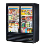 "True GDM-41SL-60-HC-LD 47"" Two-Section Glass Door Merchandiser w/ Sliding Doors, Black, 115v"