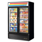"True GDM-43F-HC~TSL01 47"" Two-Section Display Freezer w/ Swinging Doors - Bottom Mount Compressor, Black, 115v"