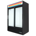 "True GDM-47-HC-LD 55"" Two-Section Glass Door Merchandiser w/ Sliding Doors, Black, 115v"