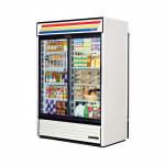"""True GDM-47RL-HC-LD 54"""" Two-Section Glass Door Merchandiser w/ Sliding Doors, White, 115v"""
