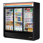 "True GDM-69-HC-LD 78"" Three Section Glass Door Merchandiser w/ Sliding Doors, Black, 115v"