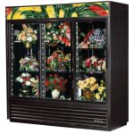 True GDM-69FC-HC-LD 3-Section Floral Cooler w/ Sliding Door - Black, 115v