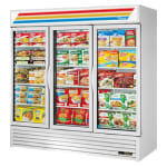 "True GDM-72F-HC~TSL01  78.13"" Three-Section Display Freezer w/ Swinging Doors - Bottom Mount Compressor, White"