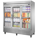 "True T-72G-HC~FGD01 78.13"" Three Section Reach-In Refrigerator, (3) Glass Door, 115v"