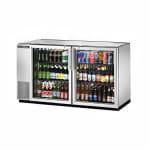 "True TBB-24GAL-60G-S-HC-LD 60"" (2) Section Bar Refrigerator - Swinging Glass Doors, 115v"