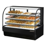 "True TCGD-59 59"" Full Service Bakery Case w/ Curved Glass - (4) Levels, Black, 115v"