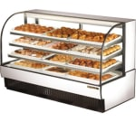 "True TCGD-77 77"" Full Service Bakery Case w/ Curved Glass - (4) Levels, White, 115v"