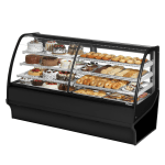 "True TDM-DZ-77-GE/GE-B-W 77.25"" Full-Service Dual-Zone Bakery Case w/ Curved Glass - (4) Levels, 115v"