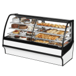 "True TDM-DZ-77-GE/GE-W-W 77.25"" Full-Service Dual-Zone Bakery Case w/ Curved Glass - (4) Levels, 115v"