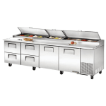 "True TPP-119D-4 119"" Pizza Prep Table w/ Refrigerated Base, 115v"