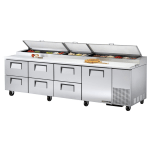 "True TPP-119D-6 119"" Pizza Prep Table w/ Refrigerated Base, 115v"