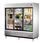 "True TSD-69G-LD 78.13"" Three Section Reach-In Refrigerator, (3) Glass Door, 115v"