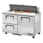 "True TSSU-48-12D-2-HC 48"" Sandwich/Salad Prep Table w/ Refrigerated Base, 115v"