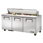 "True TSSU-72-18-HC 72"" Sandwich/Salad Prep Table w/ Refrigerated Base, 115v"