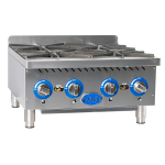 "Globe GHP24G 24"" Gas Hotplate w/ (4) Burners & Manual Controls, NG"