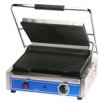 Globe GPG1410 Commercial Panini Press w/ Cast Iron Grooved Plates, 120v