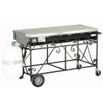 "Big Johns Grills & Rotisseries A3CC-LPSS 49"" Mobile Gas Commercial Outdoor Grill w/ Multiple Heat Zones, LP"
