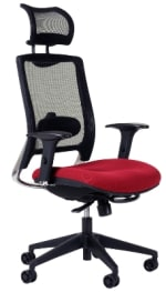 Ergocraft ECO7.5-WHR Air Mesh Task Chair w/ Adjustable Lumbar & Polished Aluminum Frame, Headrest