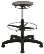 Ergocraft SS-12501-ST Polyurethane Grease Resistant Stool w/ Ring Activated Height Adjustment, Black