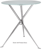 Ergocraft TS-31536-CW Curve Cafe Heights Table w/ Chrome Finish & 3-Intersecting Leg, Coffee Wood Top