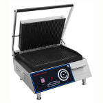 Commercial Pro CPPGM1 Commercial Panini Press w/ Cast Iron Grooved Plates, 120v