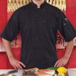 Ritz RZSSBKM Chef's Coat w/ Short Sleeves - Poly/Cotton, Black, Medium