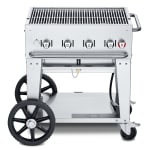 "Crown Verity CV-MCB-30NG 30"" Mobile Gas Commercial Outdoor Charbroiler w/ Water Pan, NG"