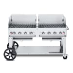 "Crown Verity MCB-60WGP-NG 60"" Mobile Gas Commercial Outdoor Charbroiler w/ Water Pan, NG"