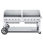 """Crown Verity MCB-72WGP-NG 72"""" Mobile Gas Commercial Outdoor Charbroiler w/ Water Pan, NG"""