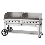 "Crown Verity RCB-72WGP-SI-LP 72"" Mobile Gas Commercial Outdoor Grill w/ Water Pans, LP"
