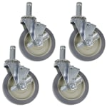 "StoreIt SI-CS-5-NM 5"" Stem Caster Set w/ Brakes"
