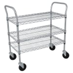 StoreIt SI-UC-3-3618-CH 3 Level Wire Utility Cart w/ 600 lb Capacity - Flat Ledges, Chrome