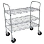 StoreIt SI-UC-3-3618-CH 3-Level Wire Utility Cart w/ 600-lb Capacity - Flat Ledges, Chrome