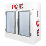 "Leer, Inc. L060UAGE 73"" Indoor Ice Merchandiser w/ (140) 10 lb Bag Capacity - White, 120v"
