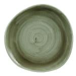 """Churchill PABGOG101 10.38"""" Round Patina Plate - Ceramic, Burnished Green"""