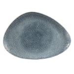 "Churchill RKTBTC361 Triangular Raku Chef's Plate - 14"" x 9.75"", Ceramic, Topaz Blue"
