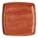 "Churchill SSOSDS101 10.5"" Square Stonecast Plate - Ceramic, Spiced Orange"