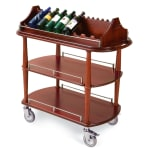 Geneva 70516 Oval Wine Cart w/ Hanging Stemware Rack, Removable Caddy Top