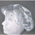 Elkay Plastics SC20 Shower Cap w/ Elastic Band - Poly, Clear w/ Blue Dots