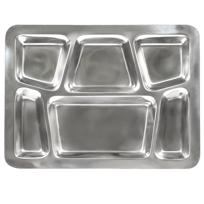 Style B Winco 6-Compartment Mess Tray