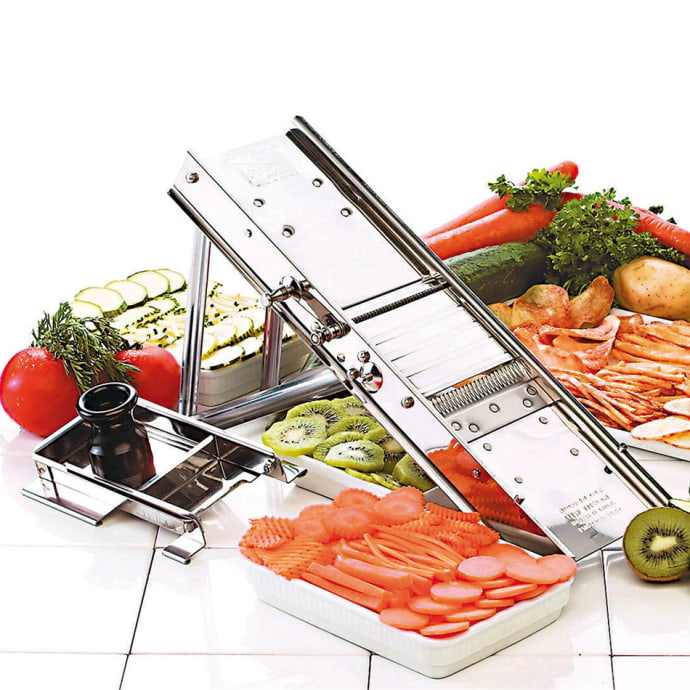 World Cuisine 49830 60 Mandoline Slicer W Pusher 4 3 4 L X 15 3 4 W X 11 H Stainless Steel