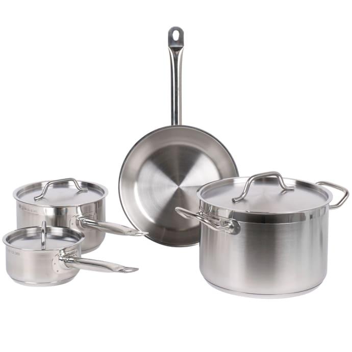 Stainless steel and glass, Prestige 76699 Optisteel 5 Piece Aluminium cookware Set-Blue