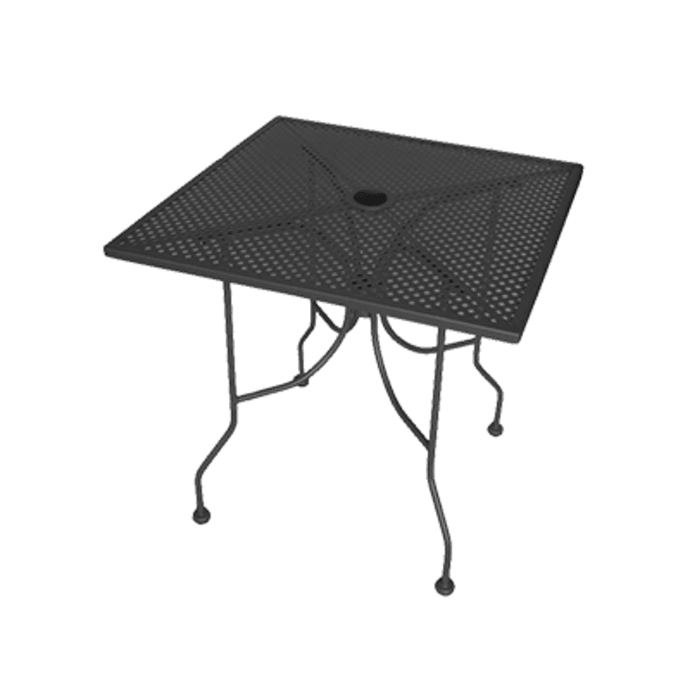 30 x 48 x 29 Black Rectangle Mesh Top with Umbrella Hole American Tables /& Seating ALM3048 Outdoor Table Powder Coat