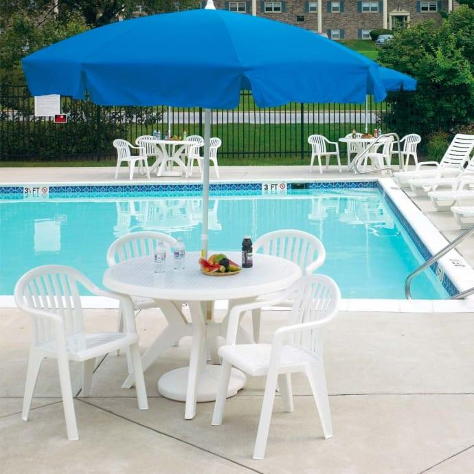 grosfillex us526704 46 round ibiza outdoor table w umbrella hole resin white