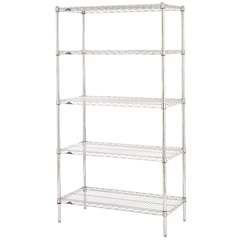 "Metro 5N557C Super Erecta® Chrome Wire Shelving Unit w/ (5) Levels, 48"" x 24"" x 74"""