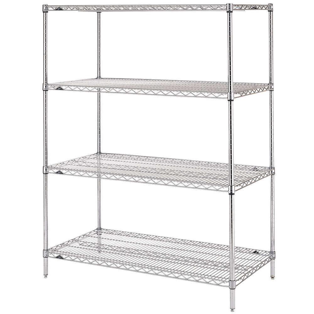 "Metro EZ2460NC-4 Super Erecta® Chrome Wire Shelving Unit w/ (4) Levels, 60"" x 24"" x 74"""