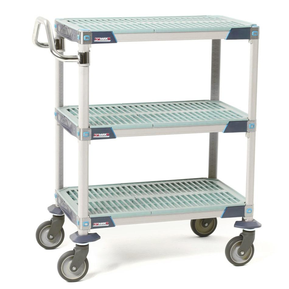 Metro MXUC2436G25 2-Level Polymer Utility Cart w/ 900-lb Capacity, Flat Ledges