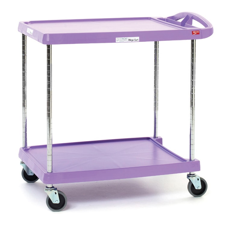 Metro MY2030-24AP 2-Level Polymer Utility Cart w/ 300-lb Capacity, Marine Ledges