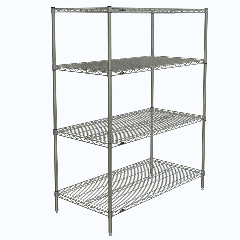 "Metro N556C Super Erecta® Chrome Wire Shelving Unit w/ (4) Levels, 48"" x 24"" x 63"""