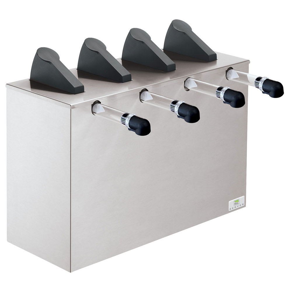 Server 07200 Countertop 4 Pump Dispenser For 4 Pouches, Stainless Base